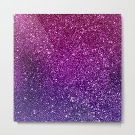 Pretty Sparkly Pink & Purple Glitter Gradient Metal Print