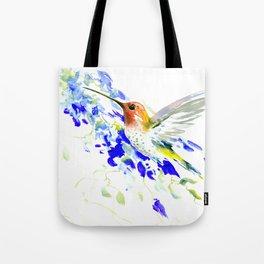 Hummingbird and Blue Flowers Tote Bag