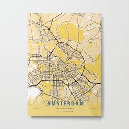 Amsterdam Yellow City Map Metal Print