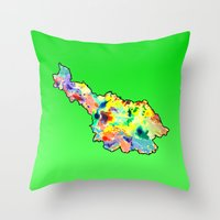 water colour Throw Pillows featuring Cavan Water Colour by Rachcox