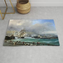 A Breezy Day Off Dover Harbour seascape nautical painting by Julius Hintz Rug