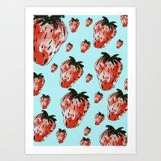 rain of strawberries Art Print