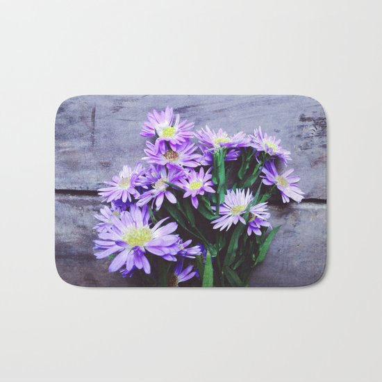 Pretty Blue Flowers Bath Mat