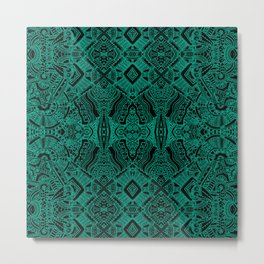 Green Tribal Bohemian Pattern Metal Print