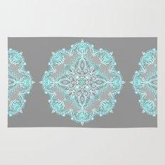 Teal and Aqua Lace Mandala on Grey Rug