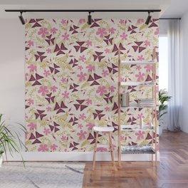 Purple Shamrock Floral Layered Pattern / Cream Wall Mural