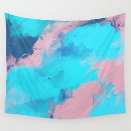 Modern abstract teal pink paint brushstrokes Wall Tapestry