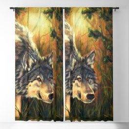 Wolf Painting - Moment Blackout Curtain