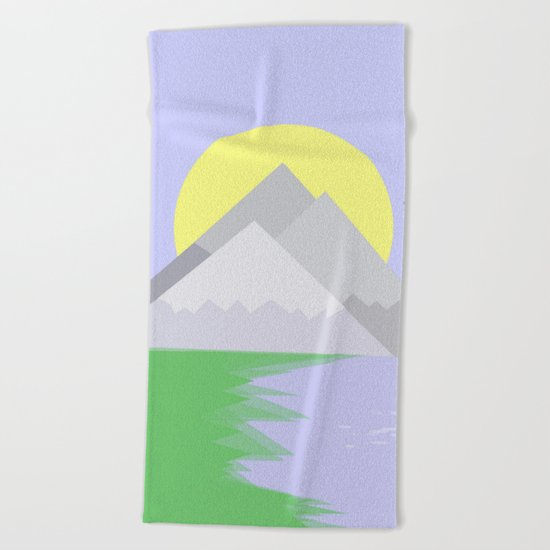 The mountains and the lake Beach Towel