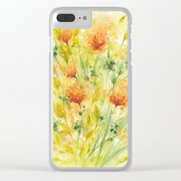 Fiery Flower Field Clear iPhone Case