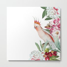 Vintage & Shabby Chic - Antique Pink Cockatoo With Tropical Flowers Garden Metal Print