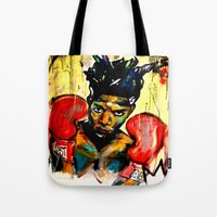 basquiat Tote Bags featuring Basquiat by Ruby Chavez