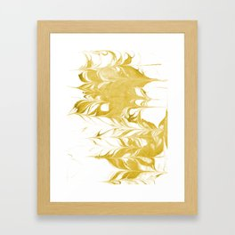 Suminagashi 3 gold and white marble spilled ink ocean swirl watercolor painting Framed Art Print