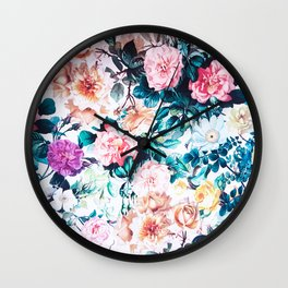 Modern blush pink green watercolor roses floral Wall Clock