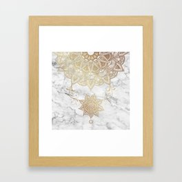 Mandala - Golden drop Framed Art Print