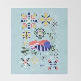 Happy Raccoon Card Throw Blanket
