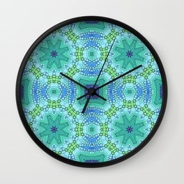 Four Flower Tile in Turquoise Green and Blue Wall Clock