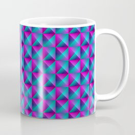 Tiled pattern of dark blue rhombuses and purple triangles in a zigzag and pyramid. Coffee Mug