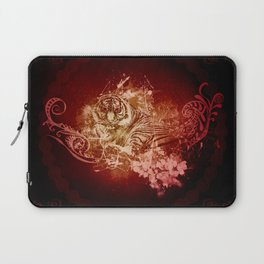 Wonderful tiger with flowers Laptop Sleeve
