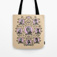 tenenbaums Tote Bags featuring The Royal Tenenbaums and friends by M. Gulin