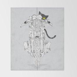 Cat Chicken Motorcycle Art Print Throw Blanket