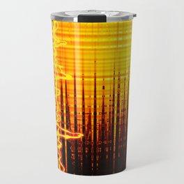 Sound wave orange Travel Mug