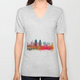 Cincinnati Skyline Watercolor by Zouzounio Art Unisex V-Neck