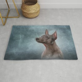 Drawing Xoloitzcuintle - hairless mexican dog breed Rug