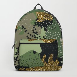 Modern Camouflage seamless pattern in a shades of green, gold glitter, brown, beige colors illustration pattern Backpack
