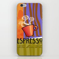 bar iPhone & iPod Skins featuring EXPRESSO BAR by Cheryl Daniels