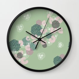 Floral Seamless Pattern on Green Wall Clock