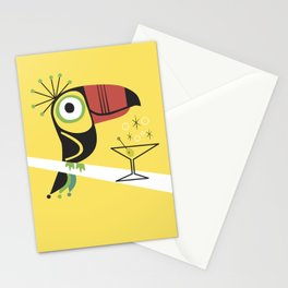 Swank Mid Century Modern Toucan Tiki Bird With Martini Stationery Cards