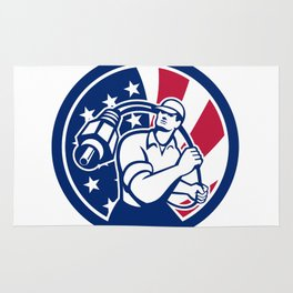 American Cable Installer USA Flag Icon Rug