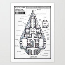 Shrike-class Scout Ship (Whiteprint) Art Print