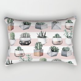 Potted Cactus Stripes Pink Rose Gold Rectangular Pillow