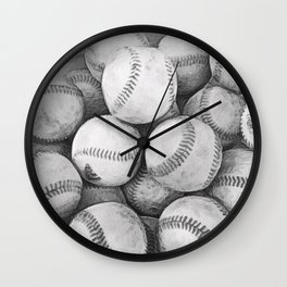 Bucket of Baseballs in Black and White Wall Clock