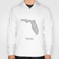 florida Hoodies featuring Florida map by David Zydd
