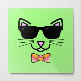 Cool Cat Wearing Bow Tie Metal Print