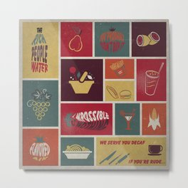 Vintage Food Collage Old Style Metal Print
