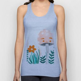 pink mushroom with floral elements Unisex Tank Top
