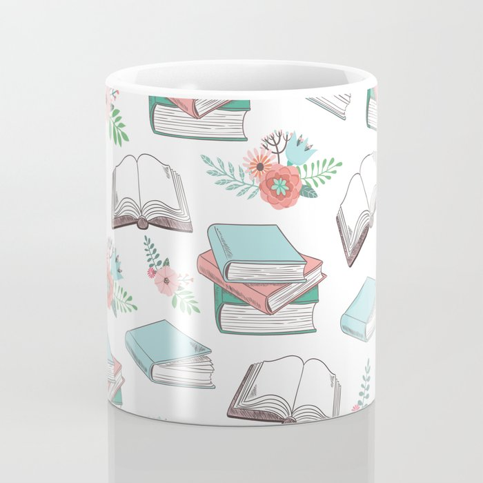 Books & Flowers Print Coffee Mug