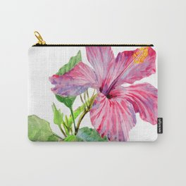 Tropical Pink Hibiscus Watercolor Carry-All Pouch