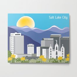 Salt Lake City, Utah - Skyline Illustration by Loose Petals Metal Print