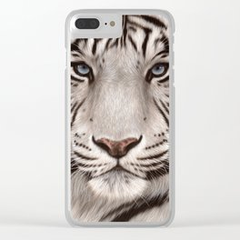 White Tiger Painting Clear iPhone Case