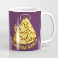 christ Mugs featuring Cheesus Christ by Lili Batista