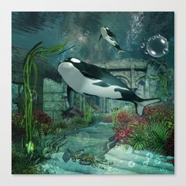 Wonderful orca Canvas Print