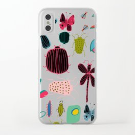 bugs and insects green Clear iPhone Case