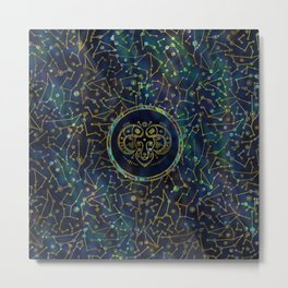 Aries Zodiac Gold Abalone on Constellation Metal Print