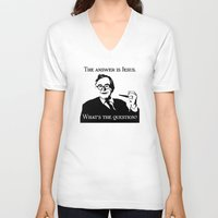 karl V-neck T-shirts featuring Karl Barth by Madeline Audrey