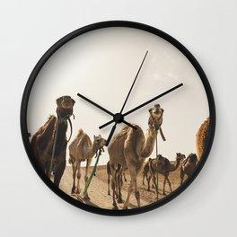 Camels in Desert Wall Clock